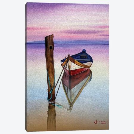 Red Sunset Boat Canvas Print #LKM65} by Liam Kumawat Canvas Art Print