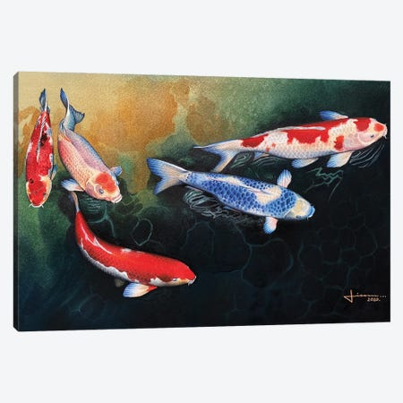 Red and Blue Koi Canvas Print #LKM69} by Liam Kumawat Canvas Wall Art