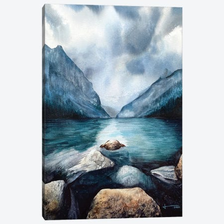 Rocky Water Edge Canvas Print #LKM6} by Liam Kumawat Canvas Art