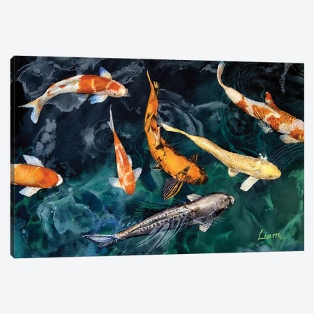 Koi Fish Canvas Print #LKM9} by Liam Kumawat Canvas Print