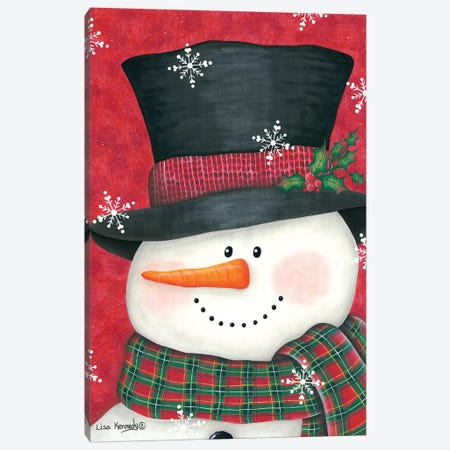 Holly & Red Plaid Snowman Canvas Print #LKN10} by Lisa Kennedy Canvas Artwork