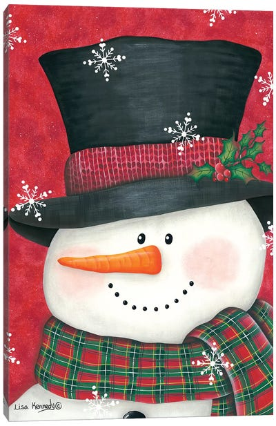 Holly & Red Plaid Snowman Canvas Art Print