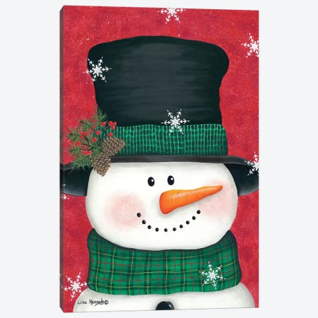 Pine Cones & Green Plaid Snowman Canvas Print #LKN11} by Lisa Kennedy Canvas Art