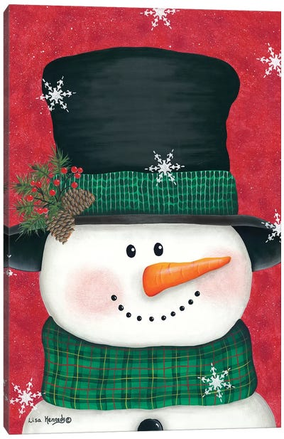 Pine Cones & Green Plaid Snowman Canvas Art Print