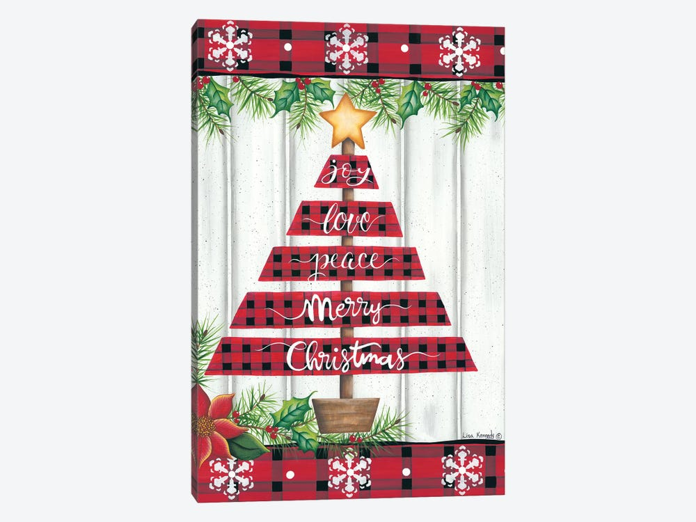 Red Buffalo Plaid Tree by Lisa Kennedy 1-piece Canvas Print