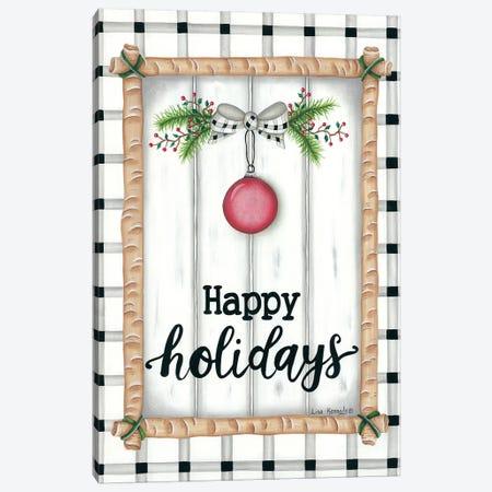 White Holiday Plaid Canvas Print #LKN21} by Lisa Kennedy Canvas Art Print