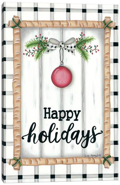 White Holiday Plaid Canvas Art Print