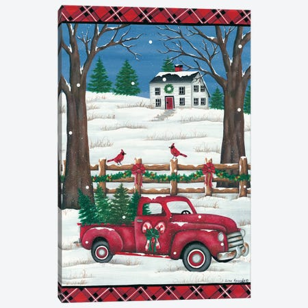 Candy Cane Truck 3-Piece Canvas #LKN22} by Lisa Kennedy Art Print