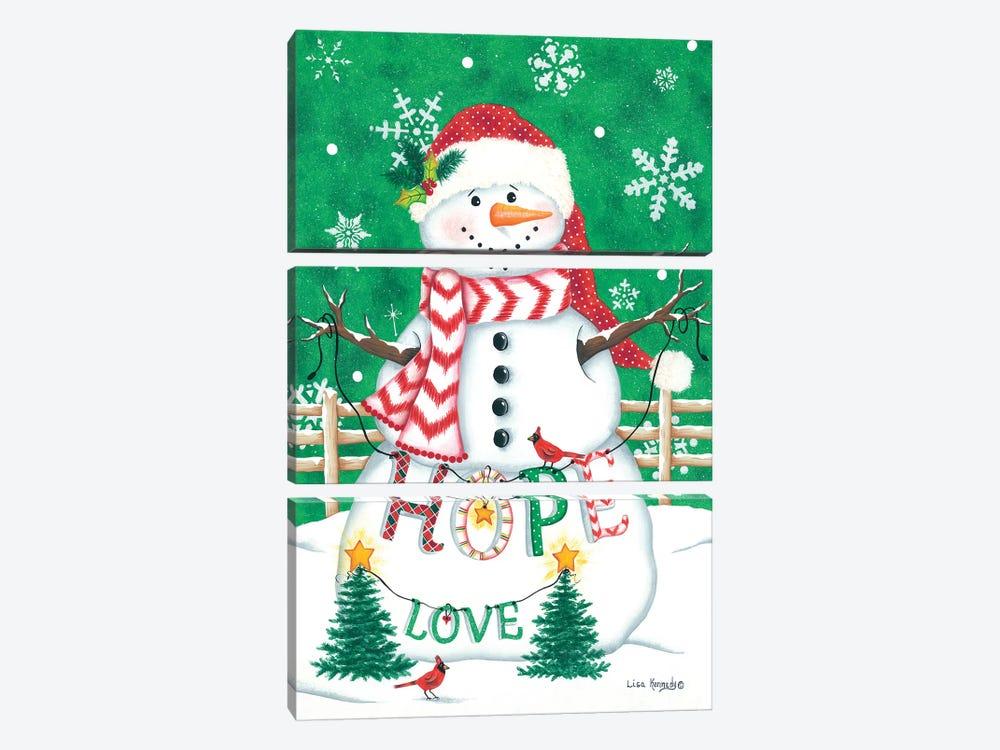 Merry Snowman by Lisa Kennedy 3-piece Canvas Wall Art