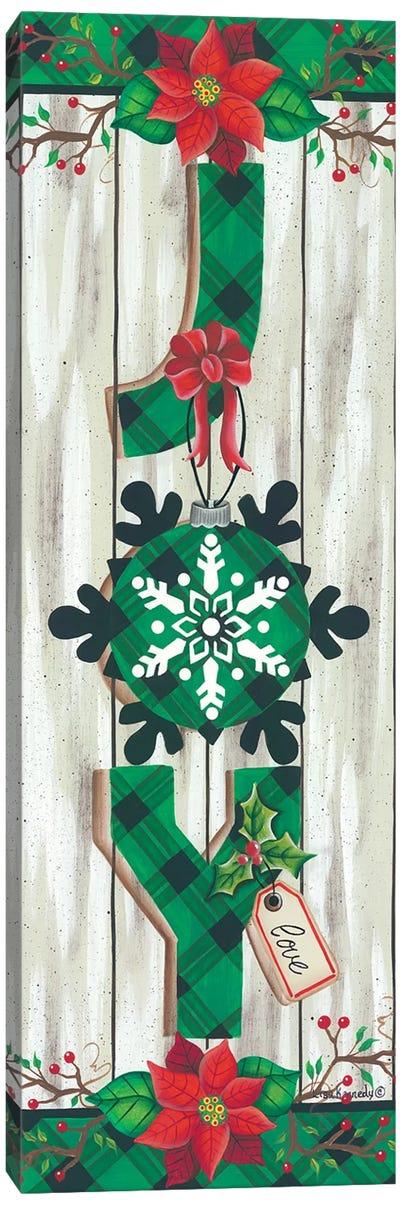 Green Plaid Joy Canvas Art Print