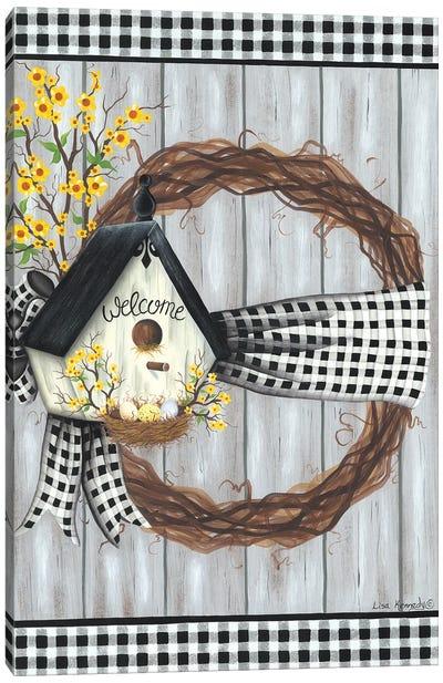 Spring Welcome Wreath Canvas Art Print