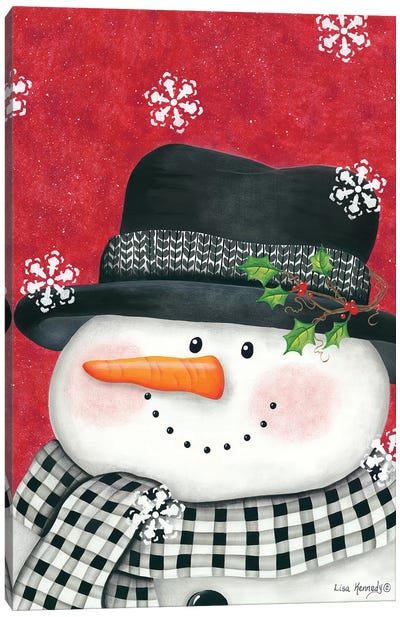 Holly & Black Plaid Snowman Canvas Art Print