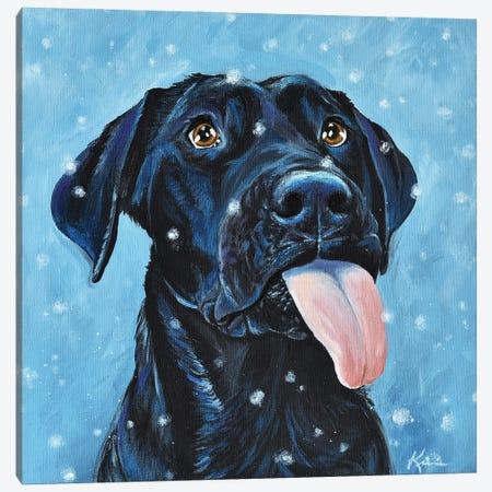 Black Lab Catching Snowflakes Canvas Print #LKV10} by Lindsay Kivi Canvas Art