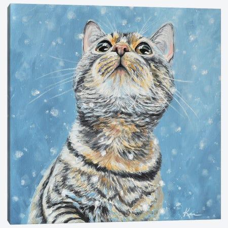 Tabby Catching Snowflakes Canvas Print #LKV14} by Lindsay Kivi Art Print
