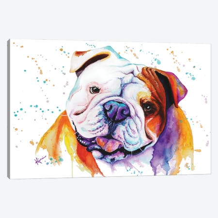 English Bulldog Canvas Print #LKV24} by Lindsay Kivi Canvas Artwork