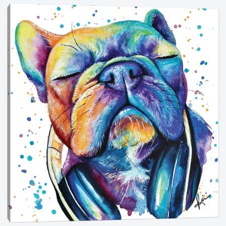 Frenchie With Headphones Canvas Print #LKV27} by Lindsay Kivi Canvas Artwork