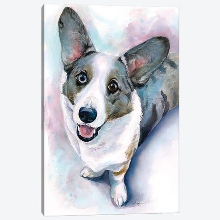 Blue Merle Cardigan Corgi Canvas Print #LKV49} by Lindsay Kivi Canvas Print