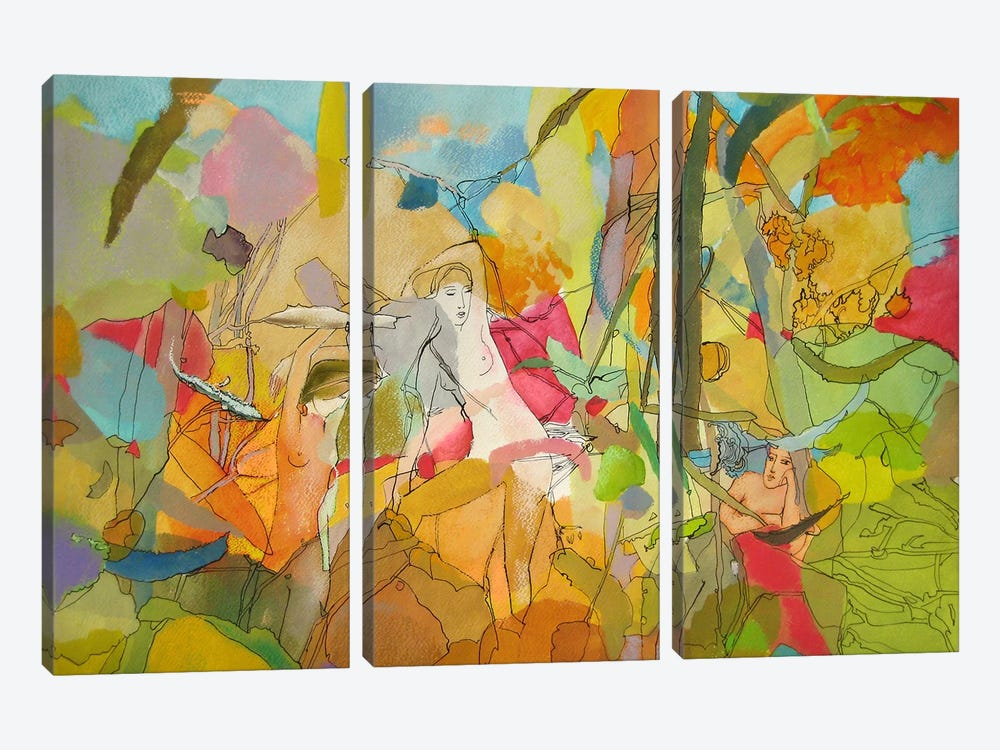 Forest Girl by Larisa Ilieva 3-piece Canvas Print