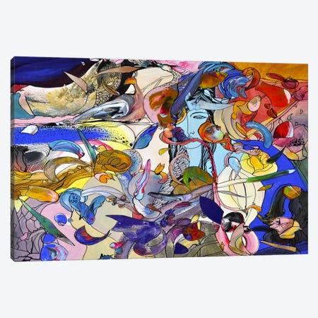 Blue Girl Canvas Print #LLE9} by Larisa Ilieva Canvas Wall Art