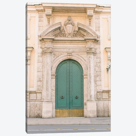 Blue And Gold Door, Rome, Italy Canvas Print #LLH13} by lovelylittlehomeco Art Print