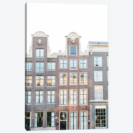 Canal Homes II, Amsterdam Canvas Print #LLH34} by lovelylittlehomeco Canvas Art