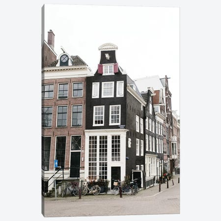 Canal Homes III, Amsterdam Canvas Print #LLH35} by lovelylittlehomeco Canvas Artwork