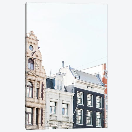 Canal Homes Rooftop, Amsterdam Canvas Print #LLH36} by lovelylittlehomeco Canvas Artwork