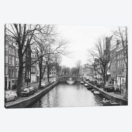 Amsterdam Canal, B&W Canvas Print #LLH3} by lovelylittlehomeco Canvas Print