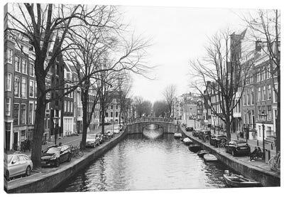 Amsterdam Canal, B&W Canvas Art Print
