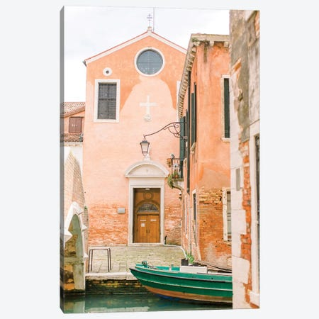 Green Boat, Venice, Italy Canvas Print #LLH68} by lovelylittlehomeco Canvas Wall Art