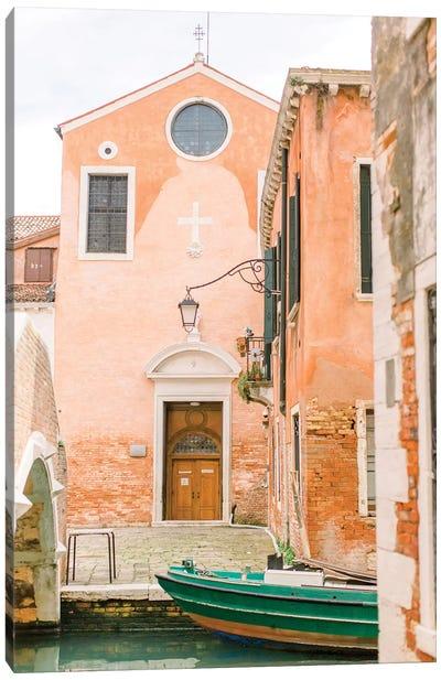 Green Boat, Venice, Italy Canvas Art Print