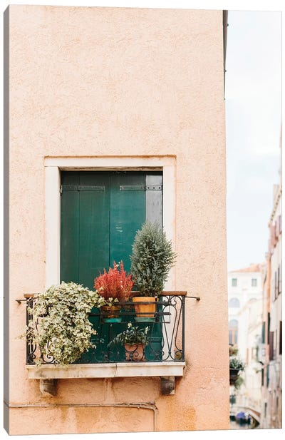 Green Shutters, Venice, Italy Canvas Art Print