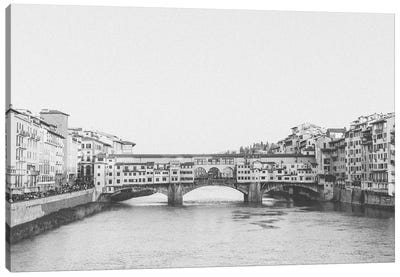 Ponte Vecchio, Florence, Italy In Black & White Canvas Art Print