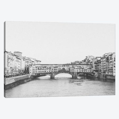 Ponte Vecchio, Florence, Italy In Black & White Canvas Print #LLH94} by lovelylittlehomeco Canvas Art