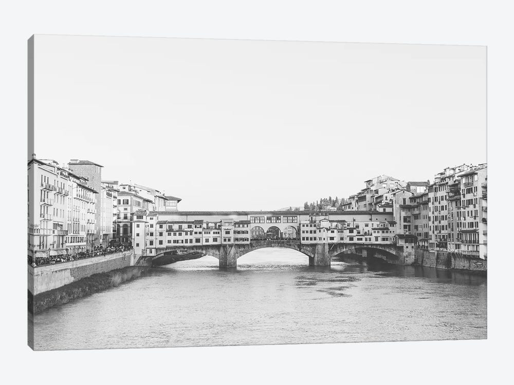 Ponte Vecchio, Florence, Italy In Black & White Grain-Free by lovelylittlehomeco 1-piece Canvas Artwork