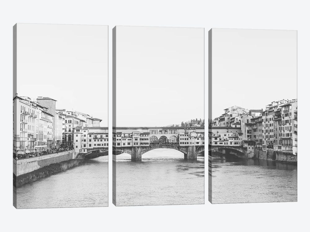 Ponte Vecchio, Florence, Italy In Black & White Grain-Free by lovelylittlehomeco 3-piece Canvas Wall Art