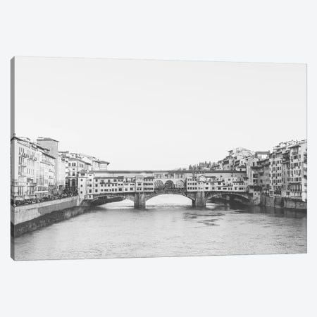 Ponte Vecchio, Florence, Italy In Black & White Grain-Free Canvas Print #LLH95} by lovelylittlehomeco Canvas Art