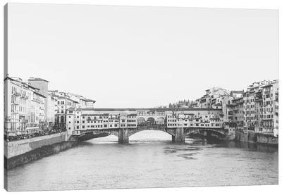 Ponte Vecchio, Florence, Italy In Black & White Grain-Free Canvas Art Print