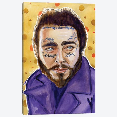 Post Malone Canvas Print #LLM29} by Sean Ellmore Canvas Art Print