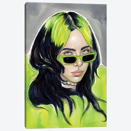 Billie Eilish III Canvas Print #LLM6} by Sean Ellmore Canvas Art Print