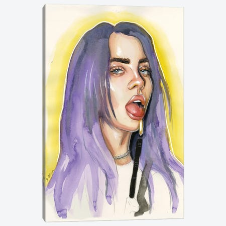 Billie Eilish IV Canvas Print #LLM7} by Sean Ellmore Art Print