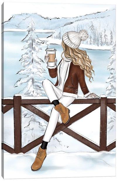 Mountains In Switzerland Blonde Girl Canvas Art Print
