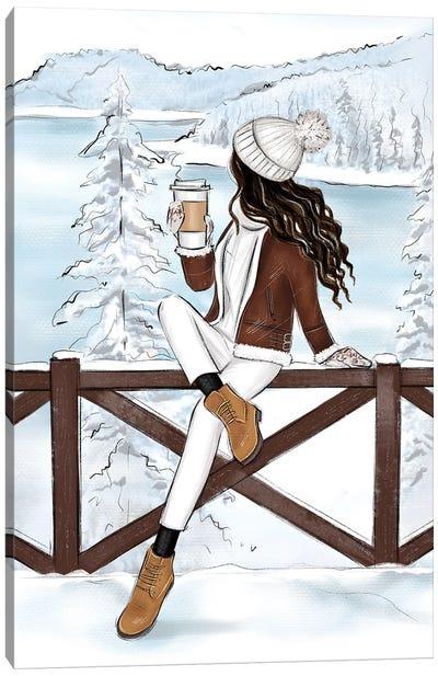 Mountains In Switzerland Brunette Girl Canvas Art Print