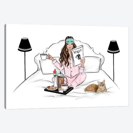 Breakfast In Bed Brunette Canvas Print #LLN109} by LaLana Arts Canvas Art Print