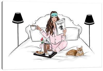 Breakfast In Bed Brunette Canvas Art Print