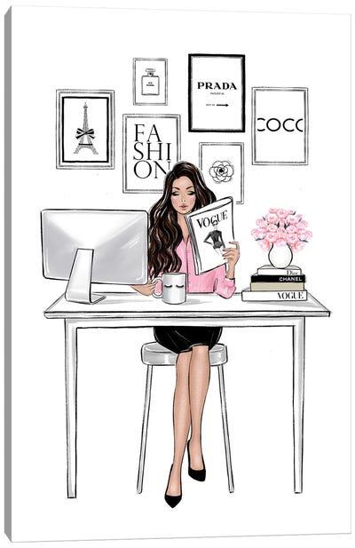 Girl Boss Brunette Canvas Art Print