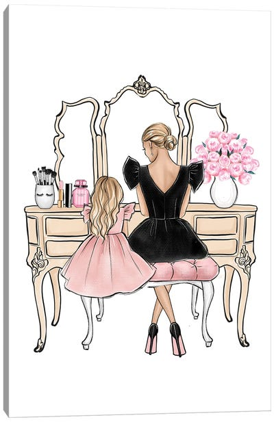 Mom And Daughter On Vanity Blonde Canvas Art Print