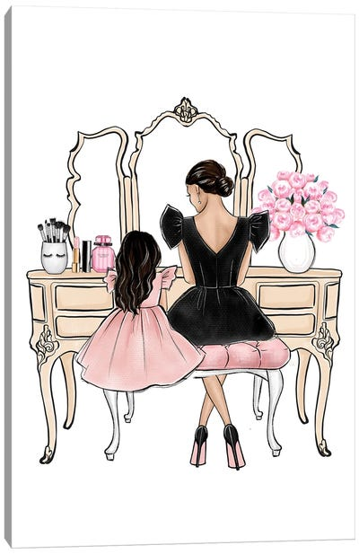 Mom And Daughter On Vanity Brunette Canvas Art Print