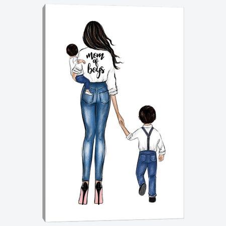 Mom Of Boys Brunette Canvas Print #LLN148} by LaLana Arts Art Print
