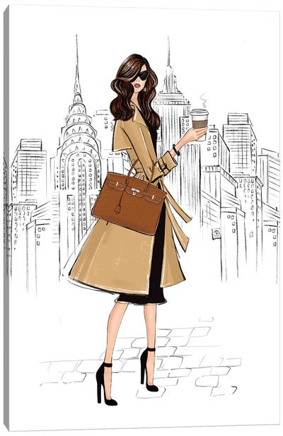 Outfit In Ny Brunette Girl Canvas Art Print